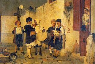 Πίνακας του Νικηφόρου Λύτρα όπου εικονίζεται μία ομάδα παιδιών να λένε τα κάλαντα.