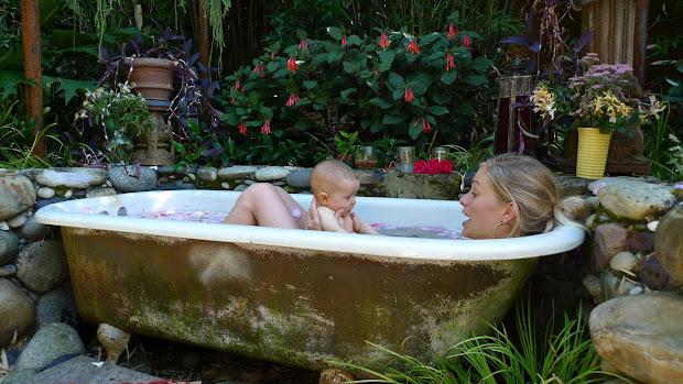 Bathing in the Garden Tub