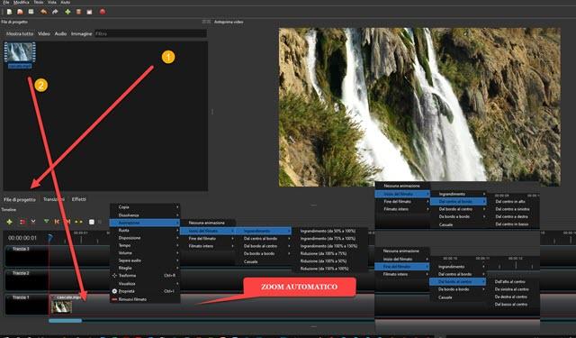 applicare lo zoom in automatico su OpenShot