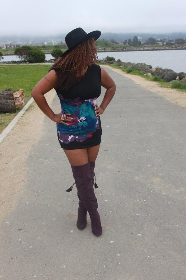 purple-thigh-high-boots, black-flat-wide-brim-hat, plus-size-blogger, black-fashion-blogger, freetress-milan-wig