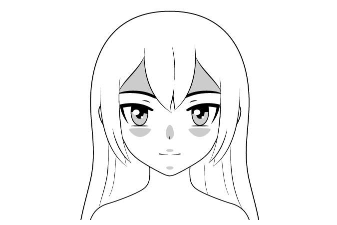 Pencahayaan bawah naungan wajah anime