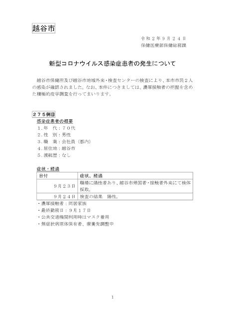 新型コロナウイルス感染症患者の発生について(9月24日発表)