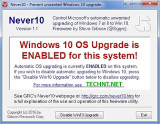 أداة Never 10. لن تجبرك مايكروسوفت بتحديث ويندوز 7 و 8.1 الى النسخة 10 بعد الآن  - التقنية نت - technt.net