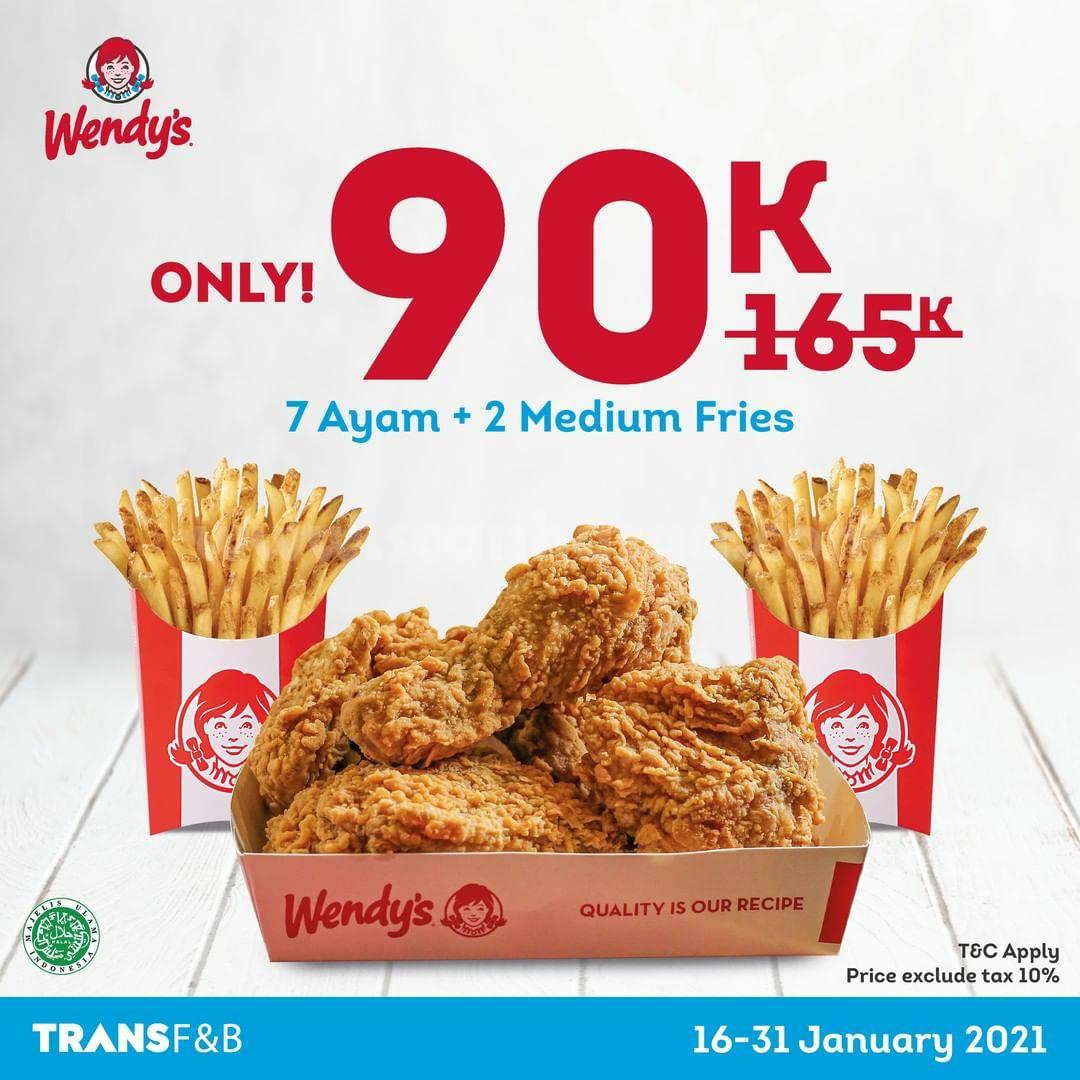 Wendys Promo Harga Spesial 7 Ayam + 2 Medium Fries hanya Rp 90.000