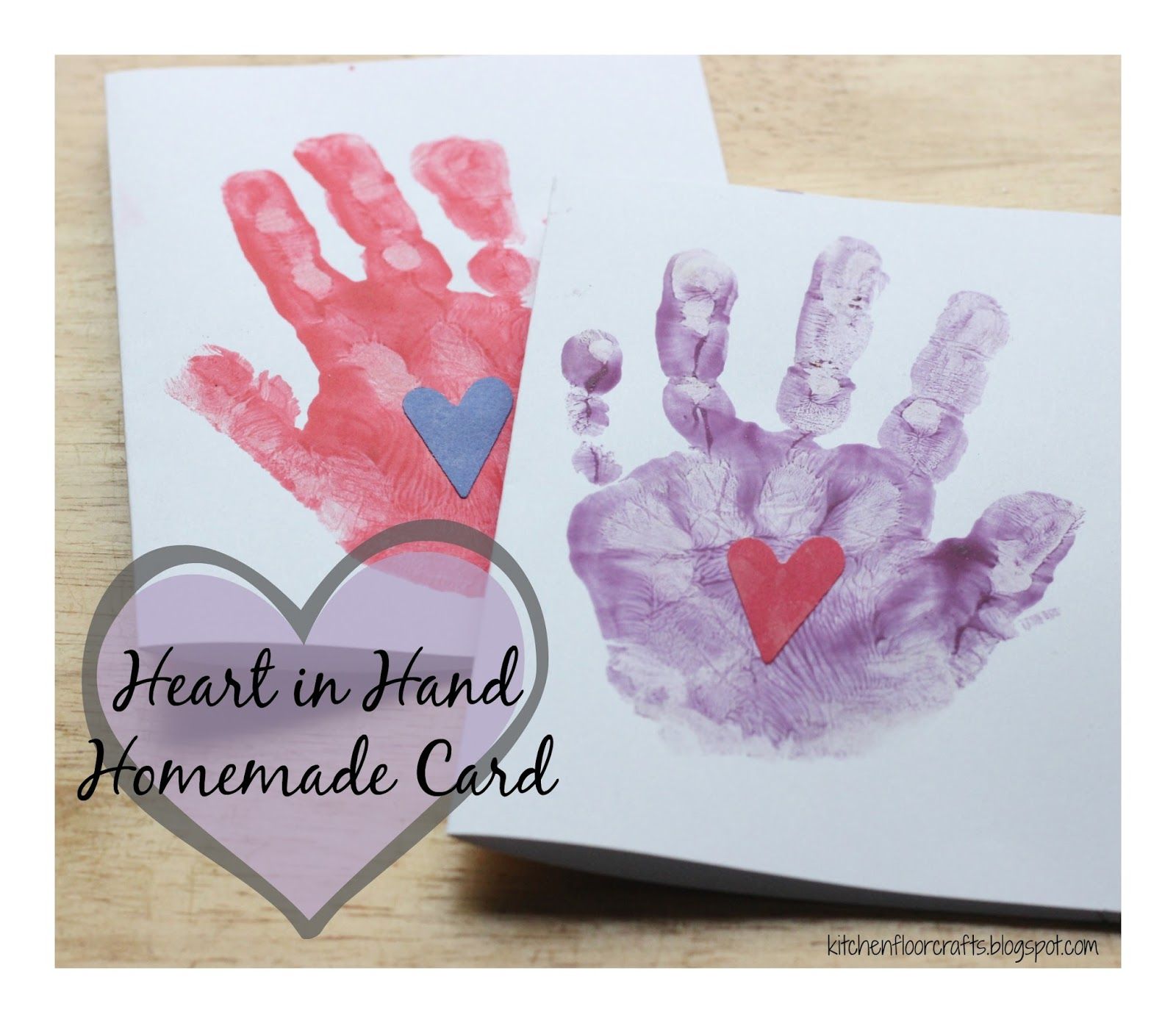 Kitchen Floor Crafts Heart In Hand Homemade Card