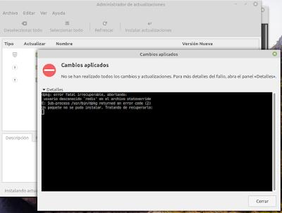 Mensaje de error al actualizar Linux