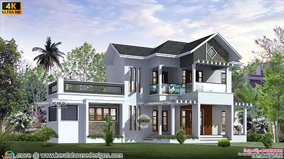 Mixed roof house front view design