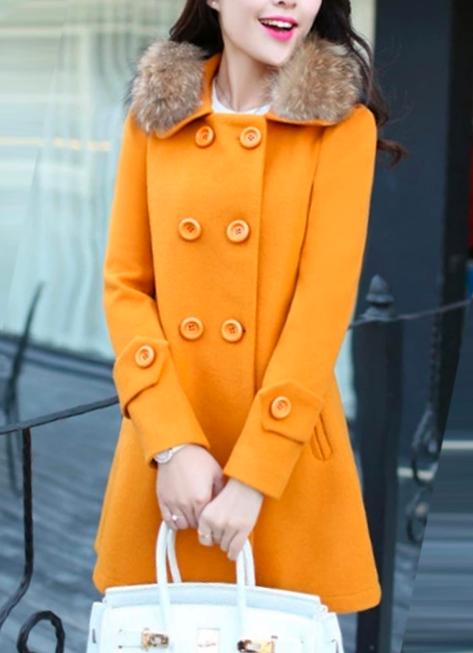 Yellow coat for women fall clothing