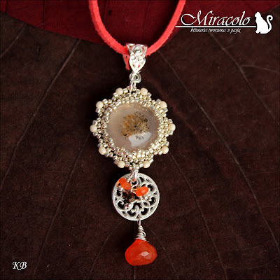Miracolo, agat dendrytowy, karneol, agate pendant