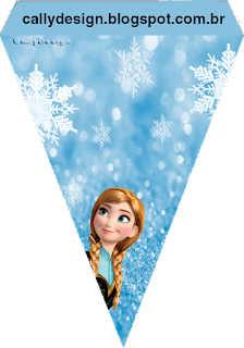 Banderines de Frozen con Nieve  para imprimir gratis.