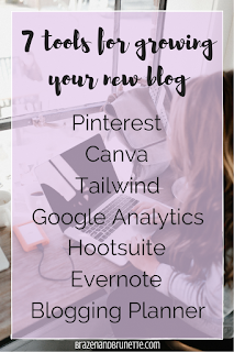 the 7 best tools that I used to grow my new blog are Pinterest, Canva, Tailwind, Google Analytics, Hootsuite, Evernote, and a post planner | brazenandbrunette.com