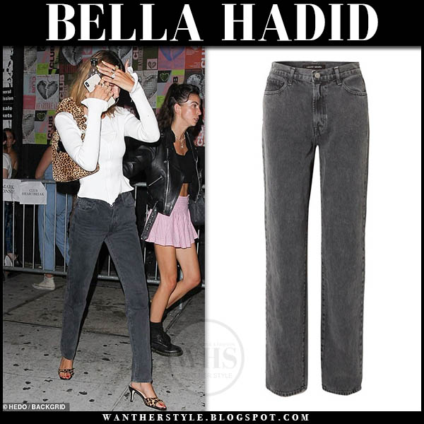 Bella Hadid win white cardigan and grey straight jeans j brand + elsa hosk. Celebrity night out outfit august 15