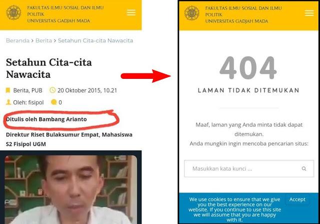Usai Terbongkar Kasus Pelecehan, Tulisan Bambang Swinger soal Program Nawacita Jokowi di Situs UGM Kini Dihapus