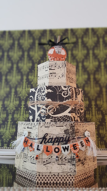 This is a picture of a three-tier papercrafted Halloween Cake