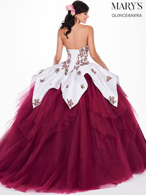 Cap Sleeves Mary's Quinceanera Ball Gown Design Light/Jade Color Dress back design