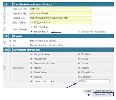 Cara Cepat Mendaftar dan Membuat Privacy Policy pada Blog