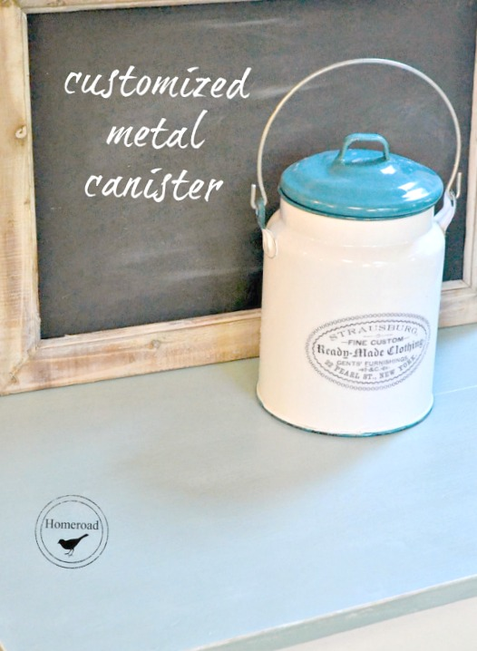 metal canister with decal and chalkboard