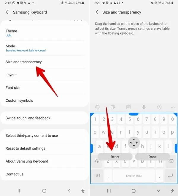 حجم إعادة تعيين لوحة مفاتيح Samsung