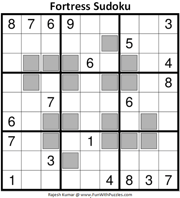 Fortress Sudoku Puzzle (Fun With Sudoku #313)