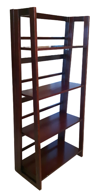 A modern style bookshelf in cherry toned wood. This one is a folding shelf, making storage easy when not in use or moving.