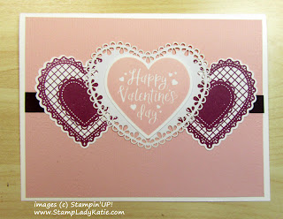 Valentine made with Stampin'UP! Heartfelt stamp set and heart punch pack and Heart Doily
