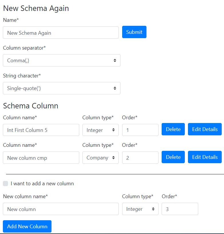 Schema editing form