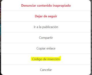 """Da clic en los 3 botones horizontales de la derecha del vídeo y selecciona la opción """"Código de inserción""""."""