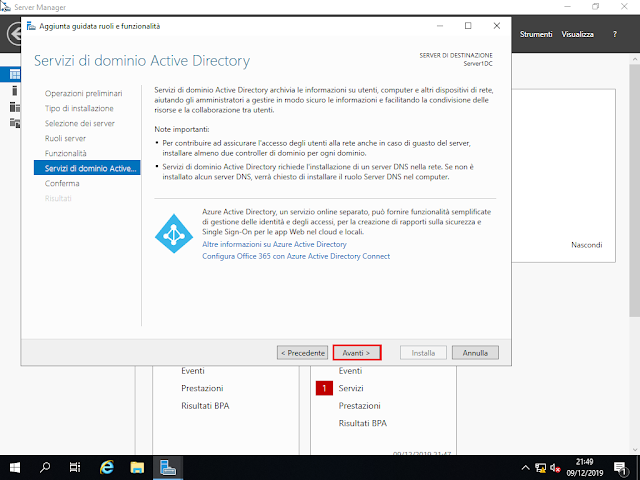 Windows Server 2019, Servizi di dominio Active Directory