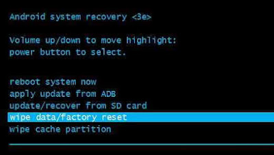 Wipe data atau Factory Reset