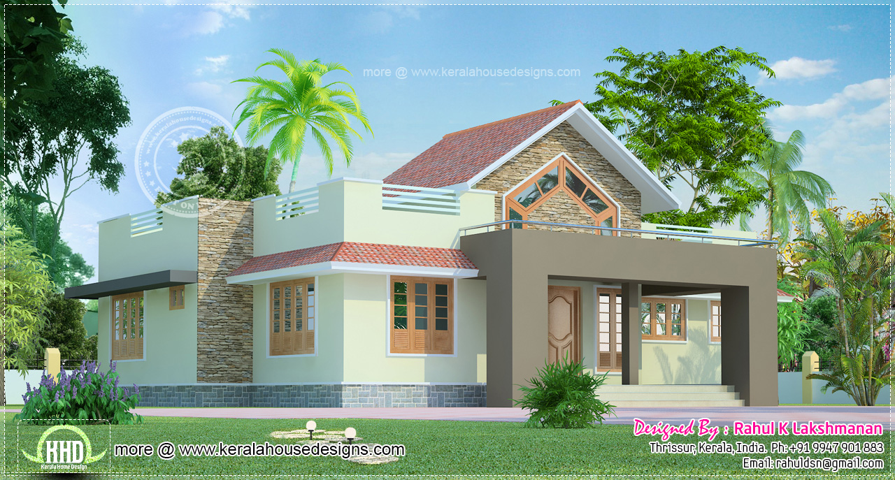1291 square feet one floor house kerala home design and for Two floor house plans in kerala