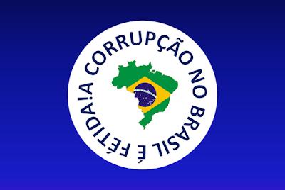 A imagem de fundo azul e ao centro tem o circulo com o mapa do Brasil em 3D e em volta está escrito a corrupção no Brasil é fétida.