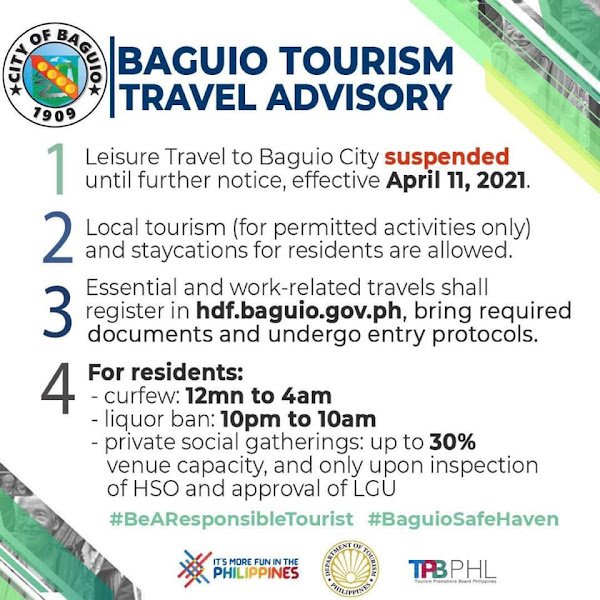 Baguio Travel Advisory as of April 12, 2021