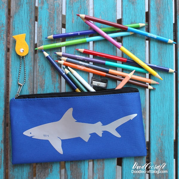 Shark pencil case with silver iron on vinyl