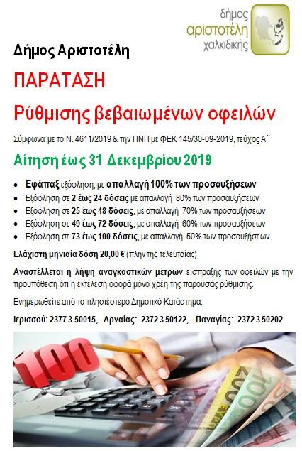Παράταση Ρύθμισης βεβαιωμένων οφειλών στο Δήμο Αριστοτέλη