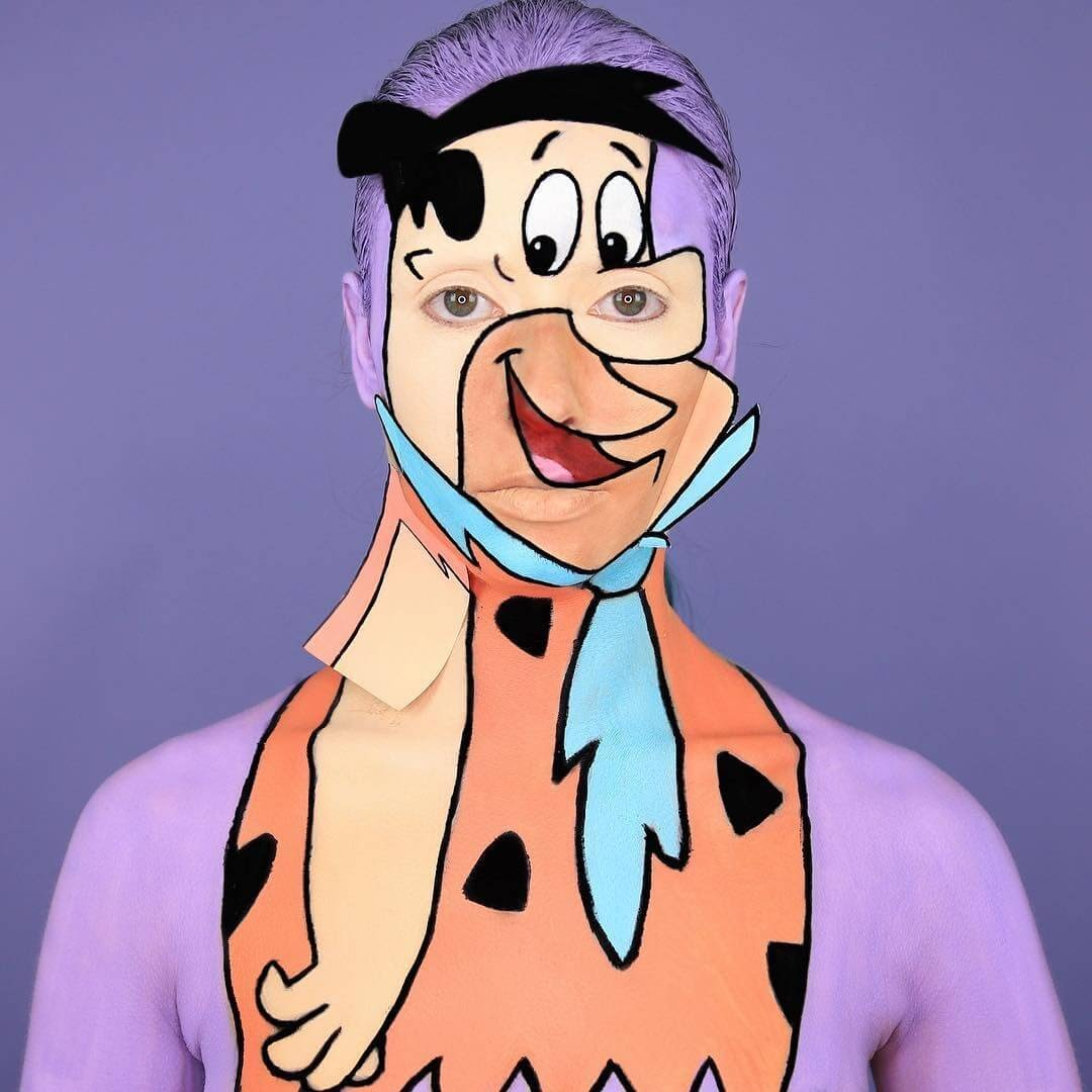 07-Fred Flintston-Yabba-Dabba-Doo-The-Flintstones-Annie-Thomas-TV-Cartoon-Characters-on-Body-Painting-www-designstack-co