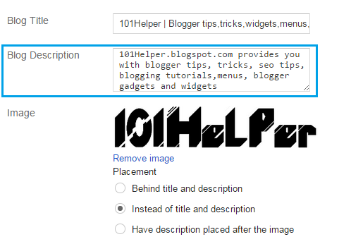 Description in Header | 101helper