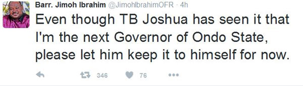 Jimoh Ibrahim shades TB Joshua as he congratulates Trump