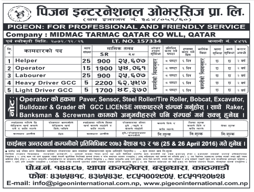 MIDMAC TERMAC QATAR CO WLL, QATAR requires workers for