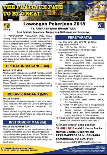 Lowongan Kerja PT PAMAPERSADA 2018
