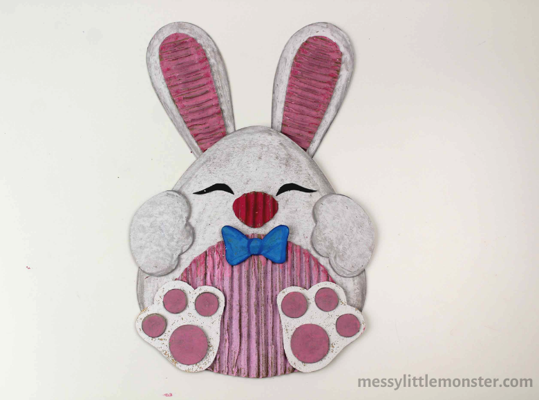 Bunny craft for kids. Cardboard craft.