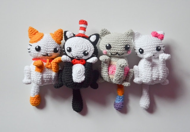 Krawka: Lucky cats pattern: Hello kitty for love and beauty, nyan cat for happiness, lucky for good fortune and cat in the hat for the adventure!