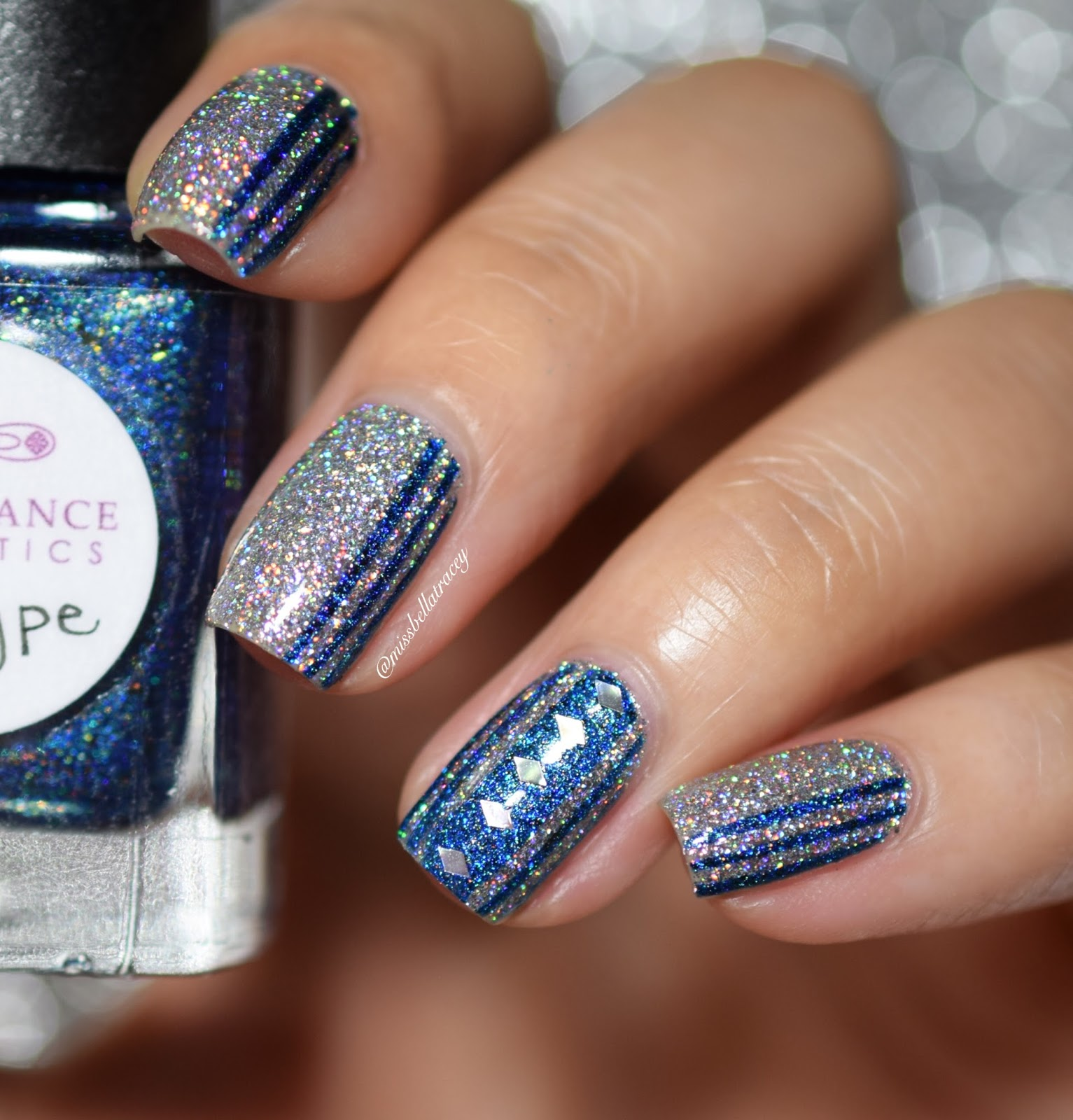 Blue Nail Art: MissBellaTracey: Striped Silver And Blue Nail Art