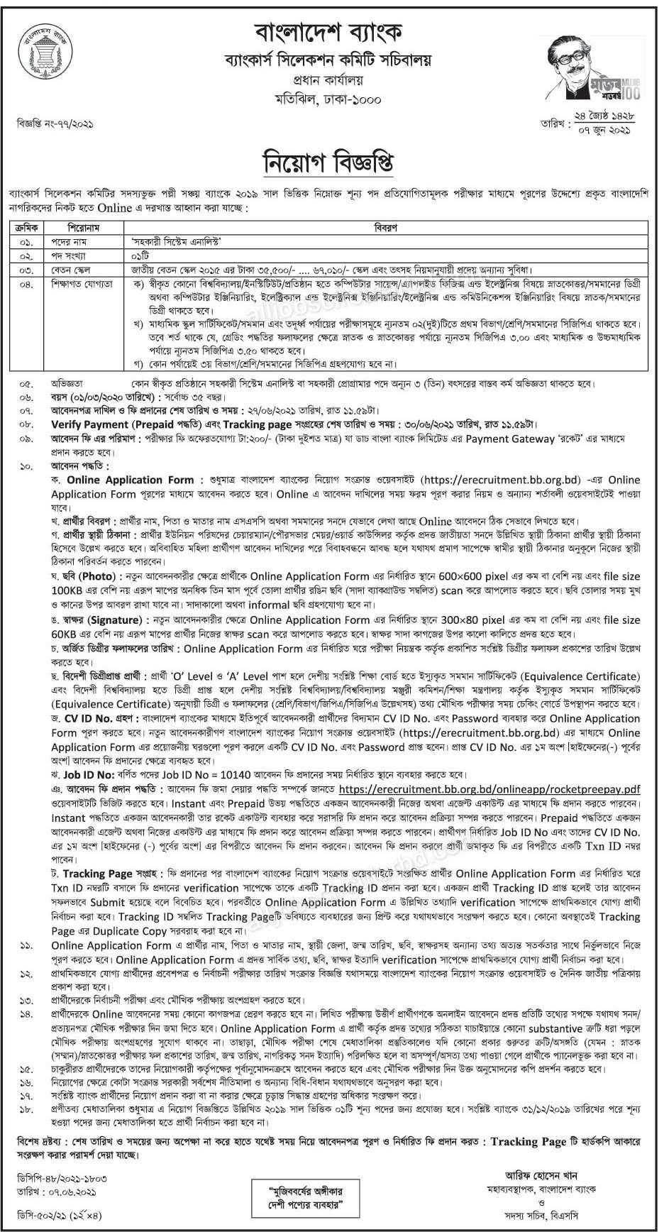 Palli Sanchay Bank Jobs Circular 2021