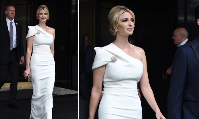 Ivanka Trump stuns in white gown as she heads to Winfield House