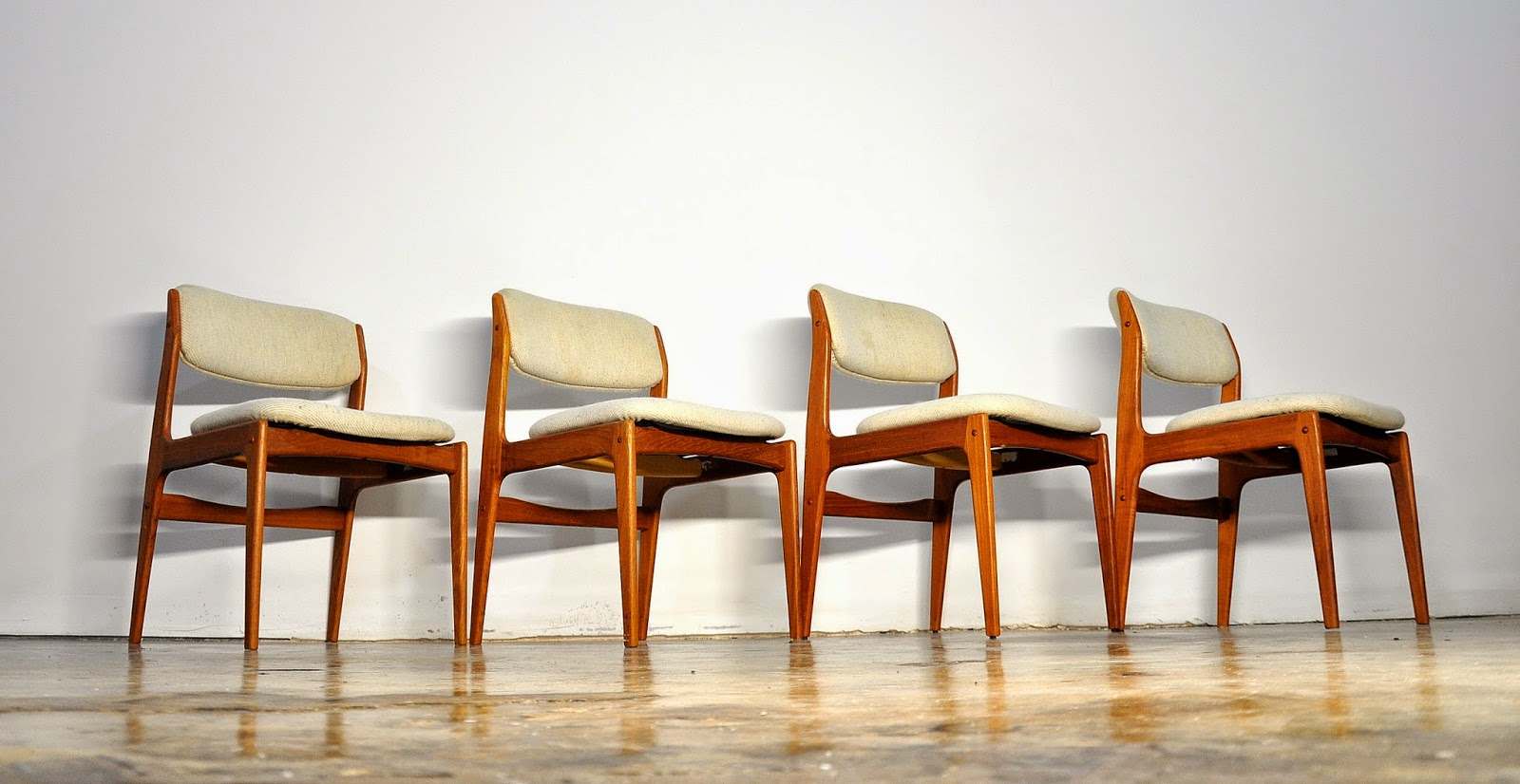 SELECT MODERN Set of Four Erik Buch Style Teak Dining Chairs