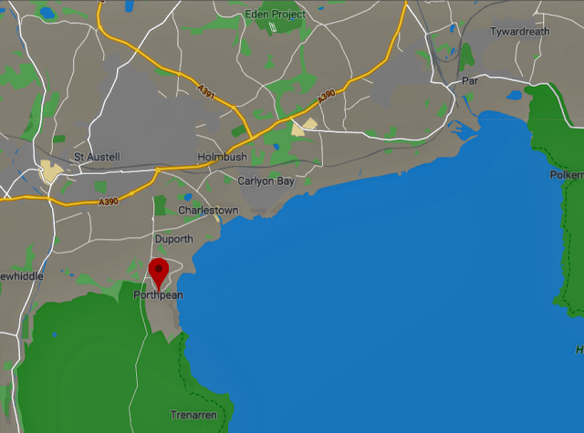 Map showing Porthpean, Duporth, Charlestown etc.