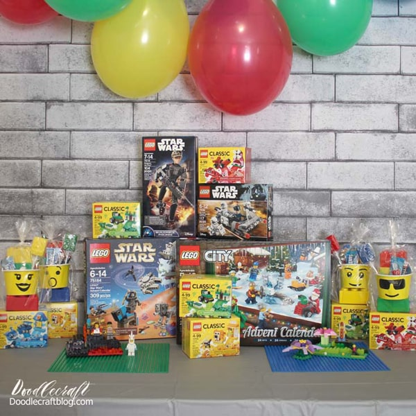 Lego party with cake stands, party favors, balloons, and awesome Lego sets