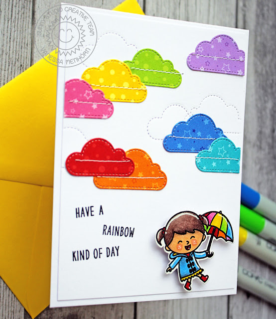 Sunny Studio Stamps: Party Pups Fluffy Clouds Fall Kiddos Build-A-Tag Rainbow Colored Cards by Anja Bytyqi and Vanessa Menhorn