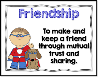 Teaching Friendship using Character traits lifeskills posters with a superhero theme