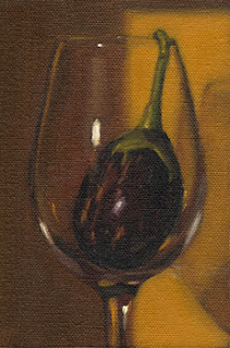 Still life oil painting of a small eggplant in a wine glass.